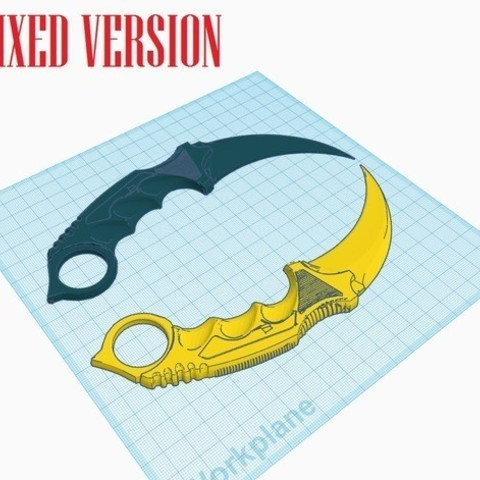 e23006abd3d34963061aacaf4ecb8d45_preview_featured.jpg Download free STL file Karambit CS GO : Fixed + Keychain version • 3D printable object, Gophy