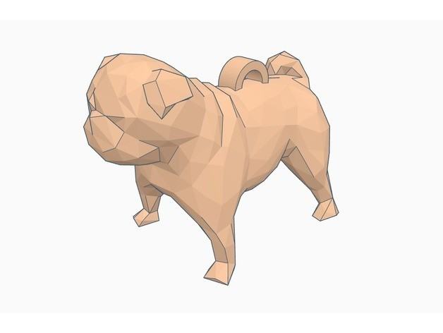 ed49d293002f9ea663f1b14c14edc85d_preview_featured.jpg Download free STL file Low Poly Pug Keychain • Template to 3D print, Gophy