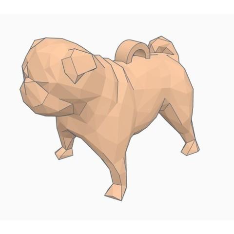 Impresiones 3D gratis Low Poly Pug Llavero, Gophy