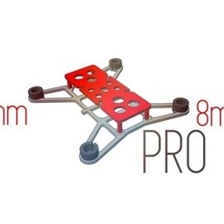Free stl files Racing Drone Frame PRO (7/8mm motors version), Gophy