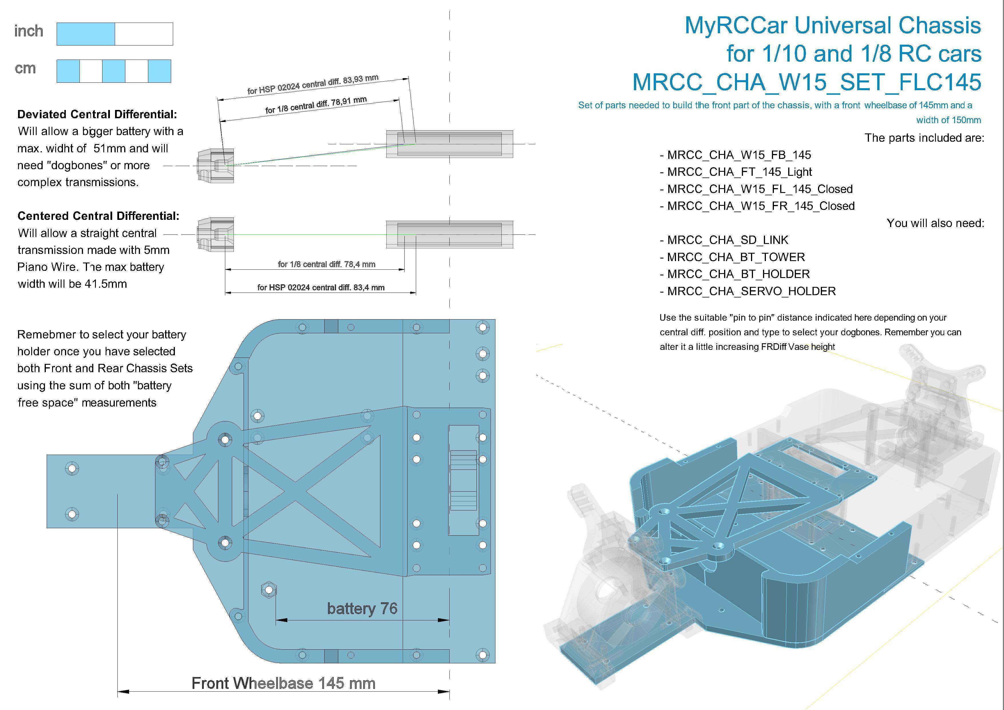 MRCC_OBTS_UP_W15_SET_FLC145.jpg Download STL file MyRCCar 1/10 OBTS Chassis Updated. Customizable chassis for On-Road, Buggy, Truggy or SCT RC Car • 3D printer design, dlb5