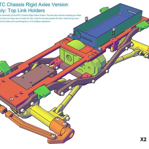 MTC_RigidAxles_drawing5.jpg Download STL file MyRCCar 1/10 MTC Chassis Rigid Axles Version. Customizable chassis for Monster, Crawler or Scale RC Car • 3D printing design, dlb5