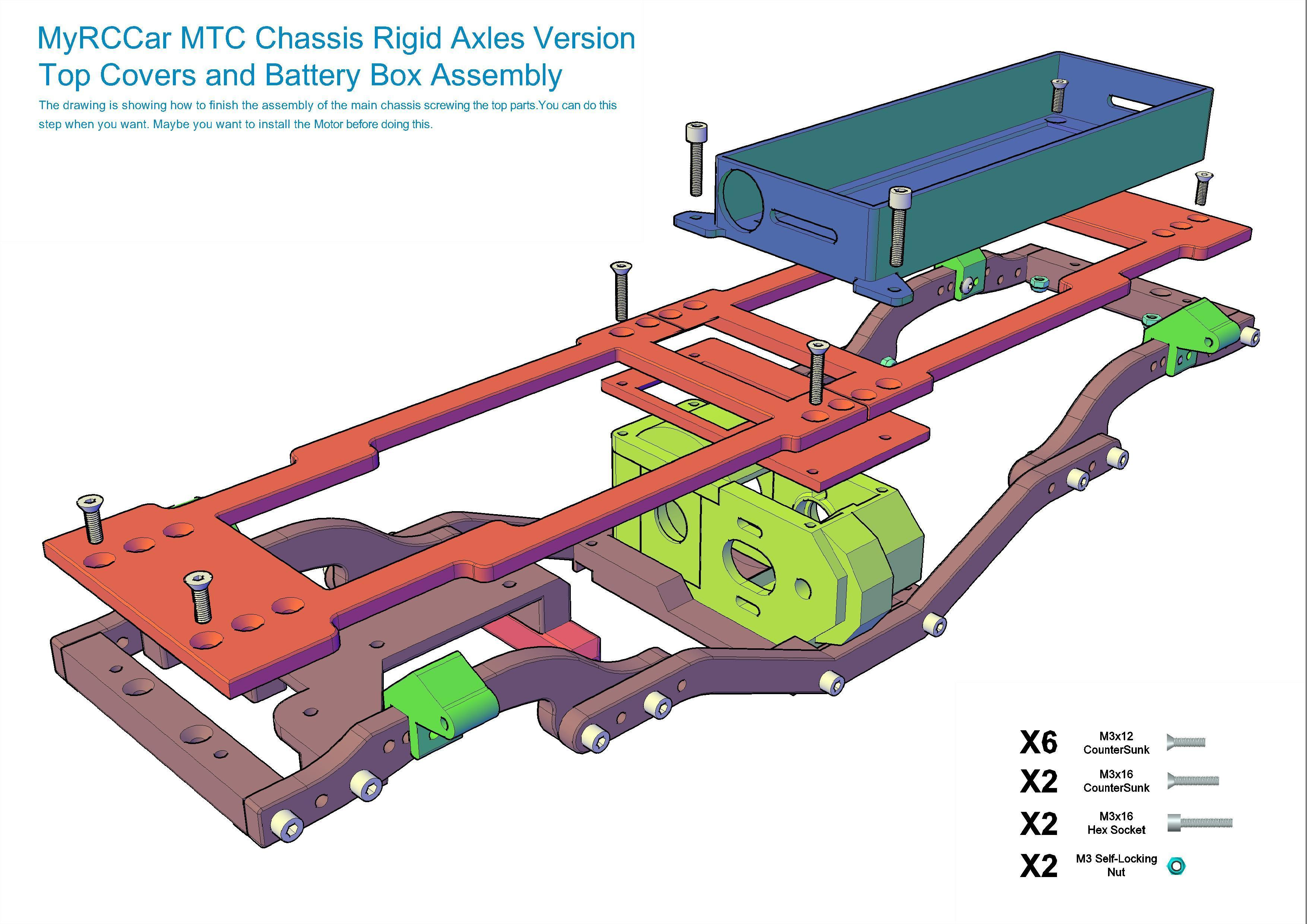 MTC_RigidAxles_drawing2.jpg Download STL file MyRCCar 1/10 MTC Chassis Rigid Axles Version. Customizable chassis for Monster, Crawler or Scale RC Car • 3D printing design, dlb5