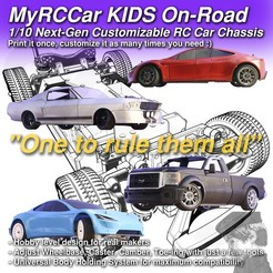 MRCCK_ONROAD_SQUARE_2000x2000_C3D.jpg Download STL file MyRCCar KIDS On-Road, 1/10 Next-Gen Customizable RC Car Chassis • Template to 3D print, dlb5