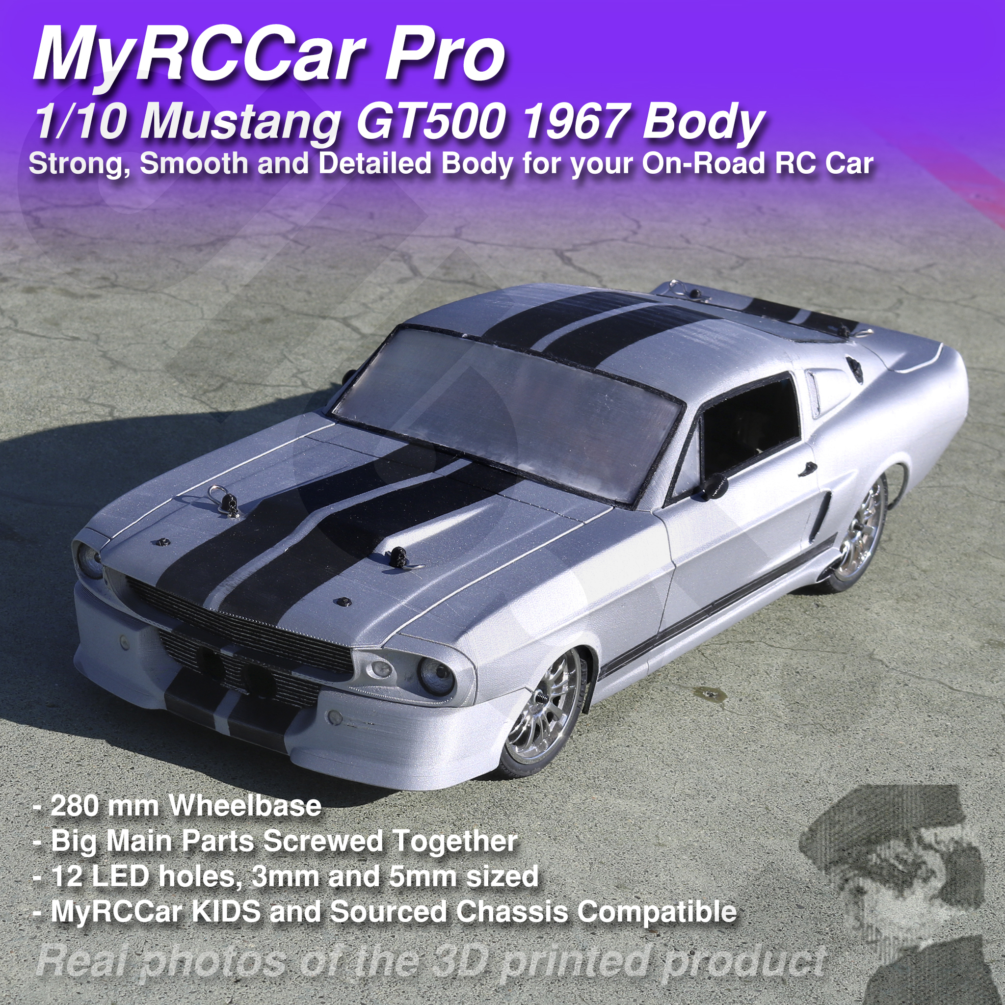 MRCC_Mustie_MAIN_2048x2048_C3Db.jpg Descargar archivo STL MyRCCar Mustang GT500 1967 1/10 On-Road RC car body • Modelo para la impresora 3D, dlb5