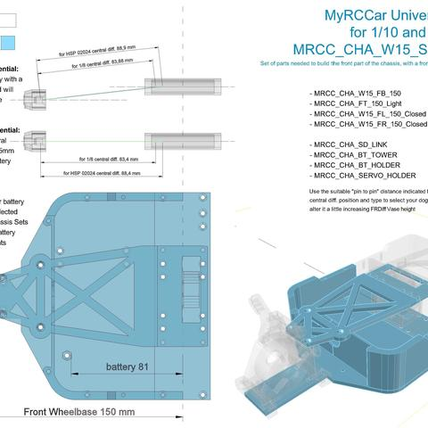 MRCC_OBTS_UP_W15_SET_FLC150.jpg Download STL file MyRCCar 1/10 OBTS Chassis Updated. Customizable chassis for On-Road, Buggy, Truggy or SCT RC Car • 3D printer design, dlb5