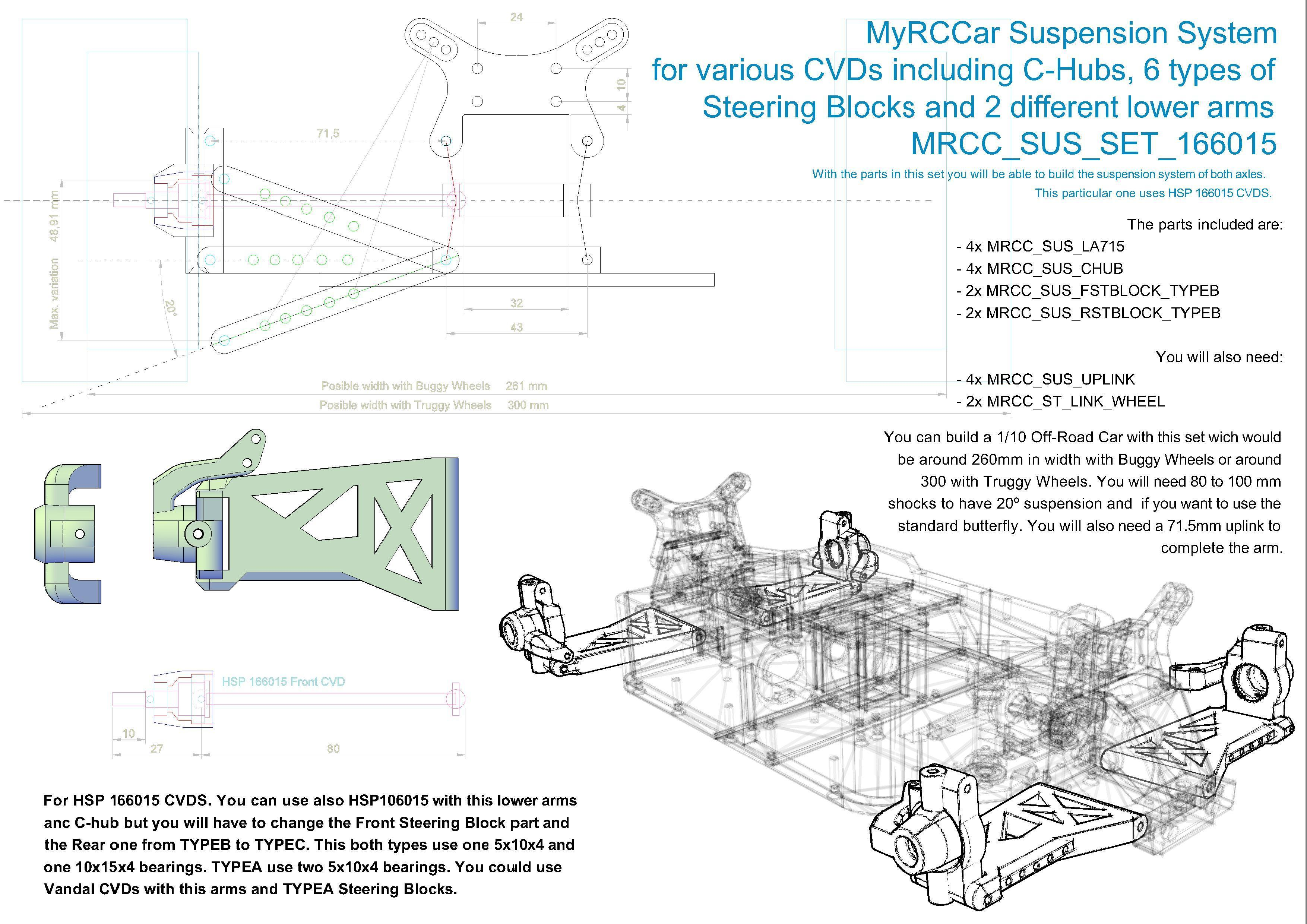 MRCC_OBTS_SUS_SET_166015.jpg Download STL file MyRCCar 1/10 OBTS Chassis Updated. Customizable chassis for On-Road, Buggy, Truggy or SCT RC Car • 3D printer design, dlb5