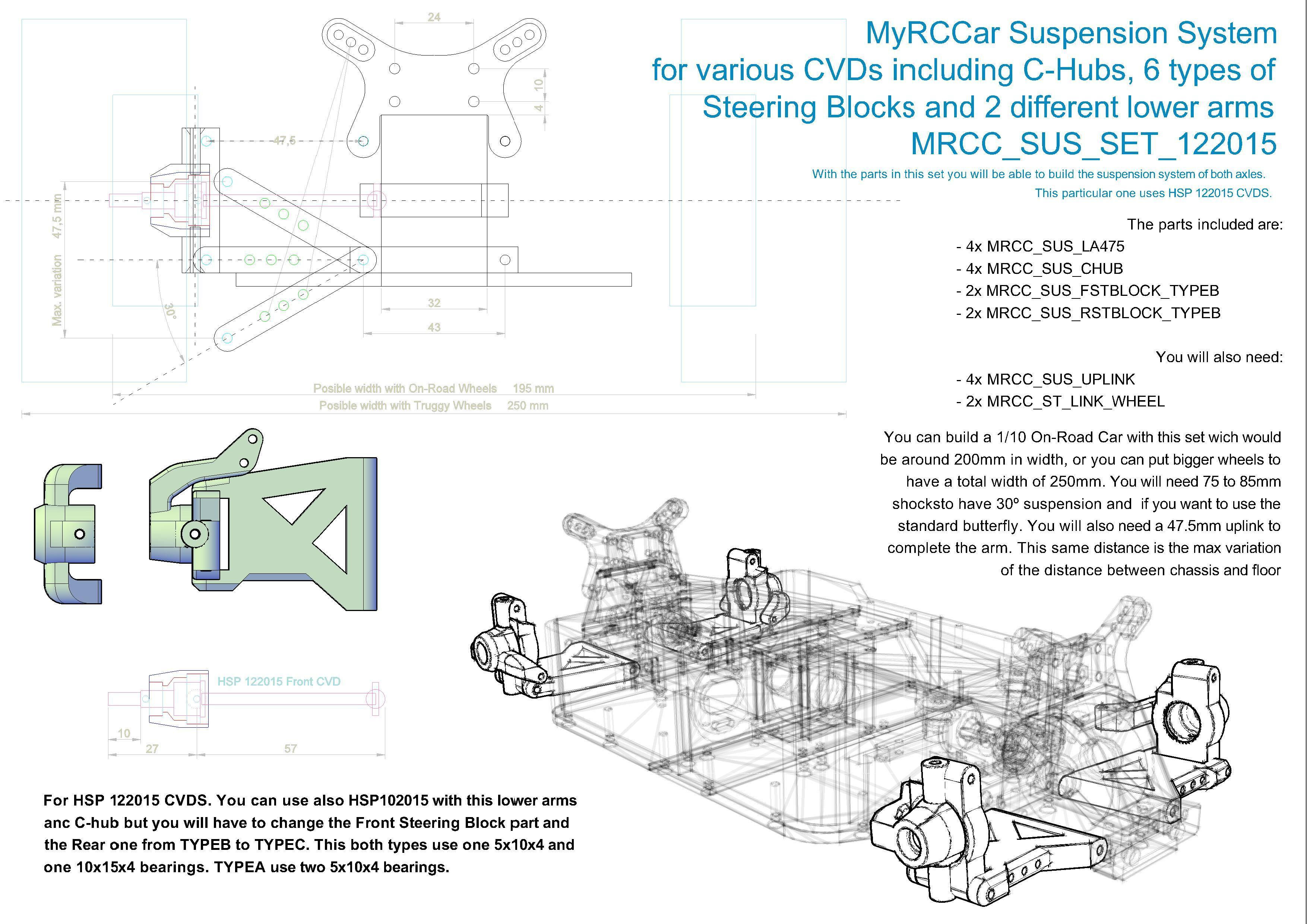MRCC_OBTS_SUS_SET_122015.jpg Download STL file MyRCCar 1/10 OBTS Chassis Updated. Customizable chassis for On-Road, Buggy, Truggy or SCT RC Car • 3D printer design, dlb5