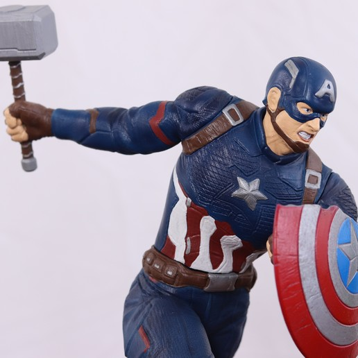 Download 3D printer designs Captain America with Mjolnir from Avengers Endgame, 3DPrintGeneral