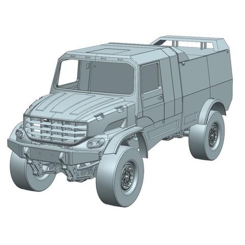 4.jpg Download STL file Kamaz Dakar (Mercedes Zetros) NEW VERSION  cockpit and hood • 3D printable template, MrPaulM