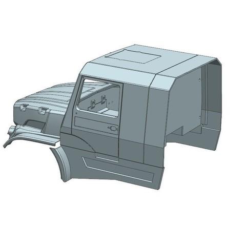 1.jpg Download STL file Kamaz Dakar (Mercedes Zetros) NEW VERSION  cockpit and hood • 3D printable template, MrPaulM