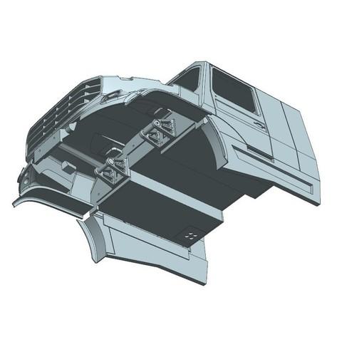 2.jpg Download STL file Kamaz Dakar (Mercedes Zetros) NEW VERSION  cockpit and hood • 3D printable template, MrPaulM