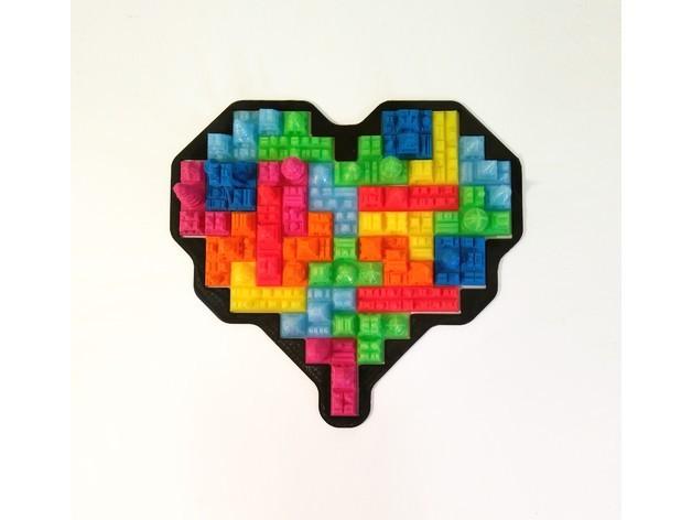 3e8453c99825fa3dc0ff5094f0f54b87_preview_featured.jpg Download free STL file Tetris Heart Puzzle • Design to 3D print, ferjerez3d