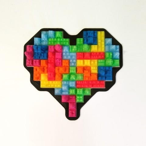 Download free STL Tetris Heart Puzzle, ferjerez3d