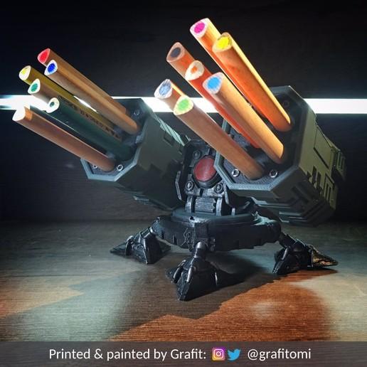 credits1.jpg Download STL file SAM Rocket Launcher Penholder • Model to 3D print, ferjerez3d