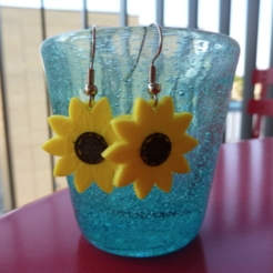 Free stl files Sunflowers Earrings, alberto_da_meduna