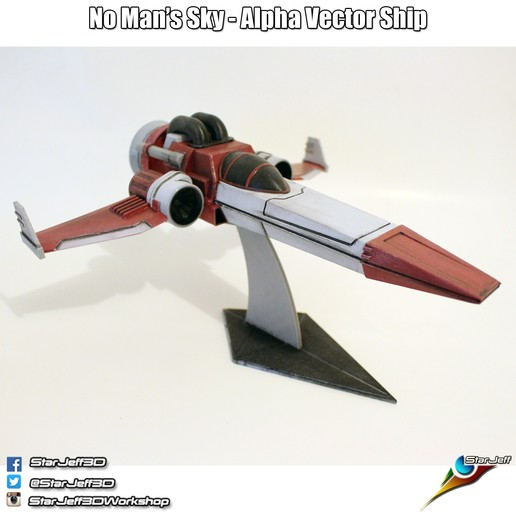 Download free STL file Alpha Vector Ship from No Man's Sky • 3D printable model, Starjeff3D