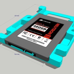 "support 3 to 2 inch with ssd.jpg Download STL file 2"" SSD to 3"" HDD Bracket - Support for SSD or 2"" HDD • 3D print template, etiennedenison"