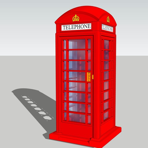 3D printer files London Telephone Booth - Red Box Phone UK - Modelism, etiennedenison