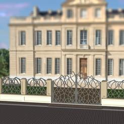 Grille deco avec chateau flou 2.jpg Download STL file Castle gates - Railing and entry for castle - Art Deco • 3D printing model, etiennedenison