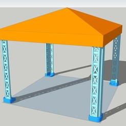 Canopy Rally montage complet.jpg Download STL file Pit Stop RALLYE Tent - Canopy Rally for DIORAMA race car • 3D printing design, etiennedenison