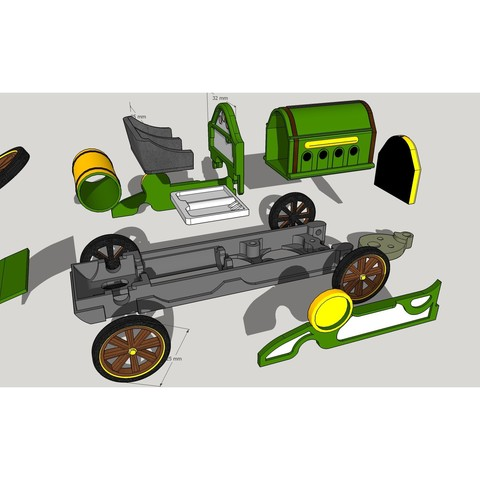All parts SKP.jpg Download OBJ file OLD F1 Car model Toy for Slot Racing • 3D print template, SlotED