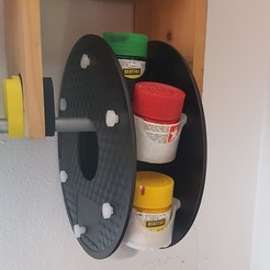 Download free 3D printer templates turnable paint holder from empty spool filament, mariospeed