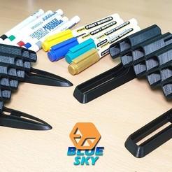 Descargar STL gratis Soporte para marcadores de pintura, BlueSky