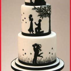 Download 3D printer model Silhouettes for wedding cake - silhouettes wedding cake, Gatopardo