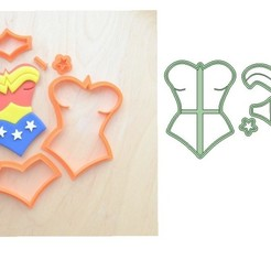Download 3D printer model Wonder woman in parts cookie cutter - wonder woman cutting cookies, Gatopardo