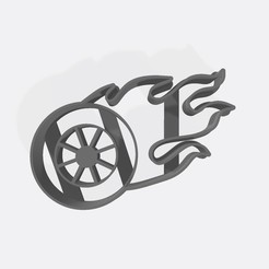 Download 3D printing designs Wheel with fire - hotwheels, Gatopardo