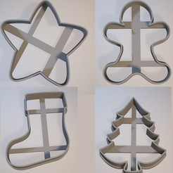 modelo stl Set x4 Navideño/Christmas - Cookie cutter/cortante de galletita, Gatopardo