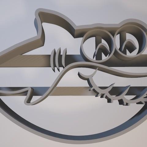 Download 3D printer designs Grandma Shark - Cookie cutter / cookie cutter, Gatopardo