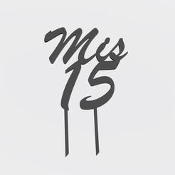 """Descargar modelo 3D Topper - """" Mis 15 """" , Gatopardo"""