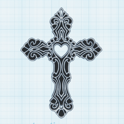 0.png Télécharger fichier STL gratuit Coeur en Croix • Design imprimable en 3D, oasisk