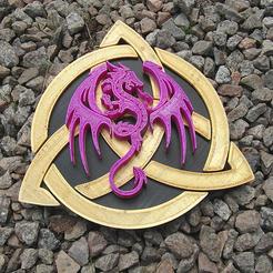 Descargar Modelos 3D para imprimir gratis Dragón sobre símbolo celta, modelo B, oasisk