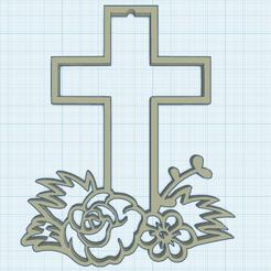 0.png Télécharger fichier STL gratuit Croix fleurie 2 • Modèle à imprimer en 3D, oasisk