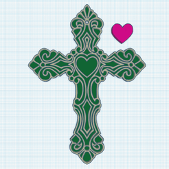 0.png Download free STL file Cross with heart 2 • Model to 3D print, oasisk