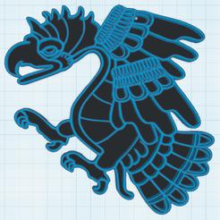 0.png Télécharger fichier STL gratuit Decor mural Aigle Azteque • Objet à imprimer en 3D, oasisk