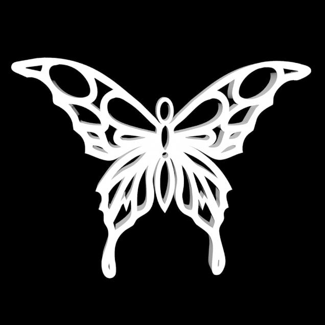 1.png Télécharger fichier STL gratuit Pendentif Papillon • Objet pour impression 3D, oasisk