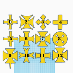 Croix des Templiers_Numerotation.png Download free STL file The 12 Crosses of the Knights Templar • 3D print design, oasisk
