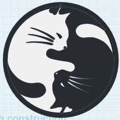 Imprimir en 3D gratis Gato Yin Yang, oasisk