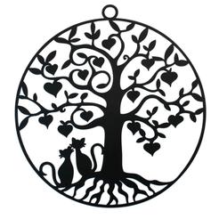 arbre de vie-chats.png Télécharger fichier STL gratuit Chats amoureux dans un Arbre de vie • Plan à imprimer en 3D, oasisk