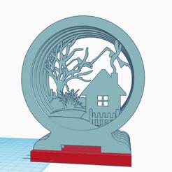 Descargar diseños 3D gratis DECOR 3D marco redondo Invierno, oasisk
