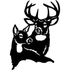 biche et cerf.png Télécharger fichier STL gratuit Vie sauvage 4 • Design pour impression 3D, oasisk