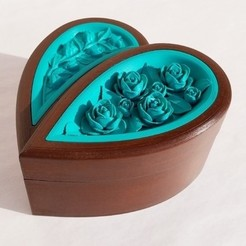 img (2).jpg Download free STL file Jewellery box in the shape of a heart and decorated with roses • 3D printer model, oasisk
