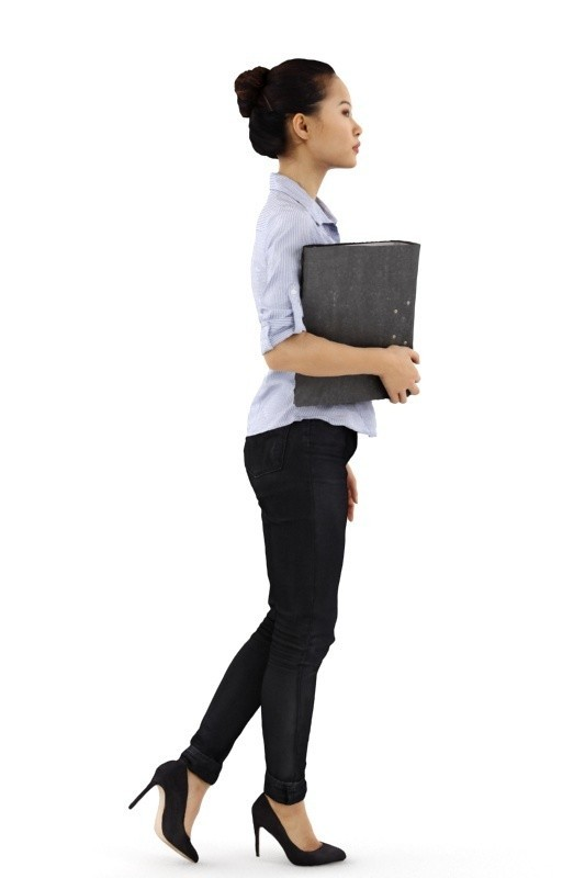 rp_mei_posed_001_B.jpg Download free STL file Mei Posed 001 - Standing Office 3D Women holding Binder • Template to 3D print, Renderpeople