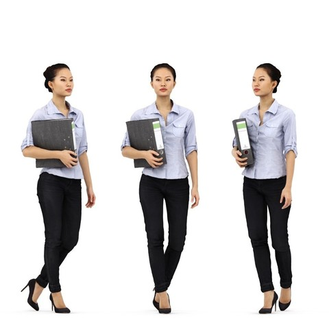 rp_mei_posed_001_Header.jpg Download free STL file Mei Posed 001 - Standing Office 3D Women holding Binder • Template to 3D print, Renderpeople