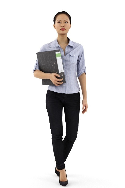 rp_mei_posed_001_A.jpg Download free STL file Mei Posed 001 - Standing Office 3D Women holding Binder • Template to 3D print, Renderpeople