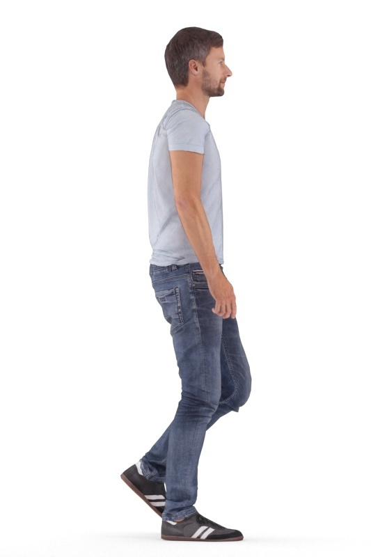 rp_nathan_animated_003_walking_B.jpg Download free STL file NATHAN ANIMATED 003 WALKING - CASUAL WALKING 3D PEOPLE MODEL • 3D printable template, Renderpeople